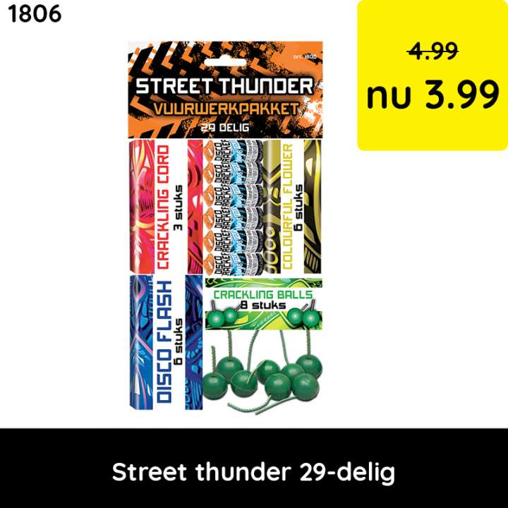 Street thunder vuurwerkpakket - categorie 1 vuurwerk - kindervuurwerk