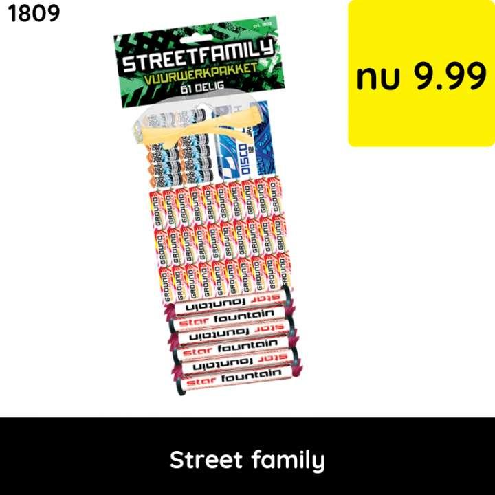 Street family vuurwerkpakket  - categorie 1 vuurwerk - jeugdvuurwerk