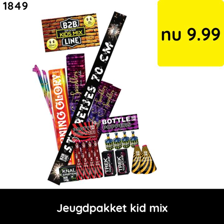 Jeugdpakket kid mix - categorie 1 vuurwerk - jeugdvuurwerk